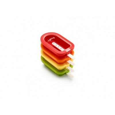 Set van 4 ijsjesvormen rood, oranje, geel en groen 16.5x7.5x2.6cm
