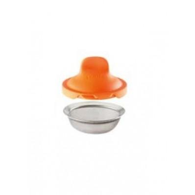 set van 2 eipocheerders uit silicone en rvs oranje 11x4.5x7cm