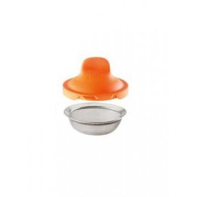 Set van 2 eipocheerders uit silicone en rvs oranje 11x4.5x7cm  Lékué