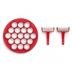 Uitsteekvorm voor 19 hapjes met 2 rollers uit kunststof