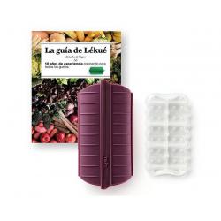 set van stomer uit silicone voor 1-2 personen aubergine en kookboek NL  Lékué