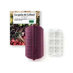 set van stomer uit silicone voor 3-4 personen aubergine en kookboek NL  Lékué
