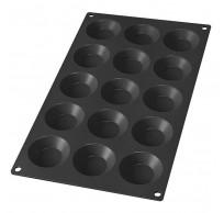 Bakvorm uit silicone voor 15 mini taartjes zwart Ø 5cm H 1.7cm