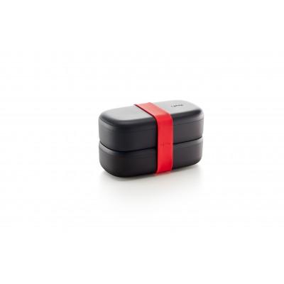 Dubbele lunchbox uit kunststof met silicone band zwart en rood 1L
