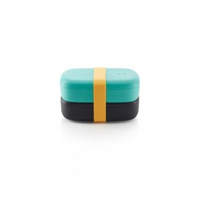 Dubbele lunchbox uit kunststof met silicone band zwart en muntgroen 1L