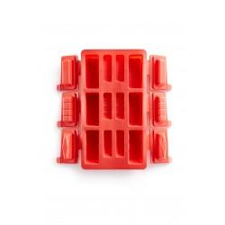 Bakvorm voor 6 rechthoekige mini buches uit silicone rood  Lékué