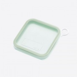 Sandwich lunchbox uit silicone en kunststof groen 18.1x18.1x4.6cm