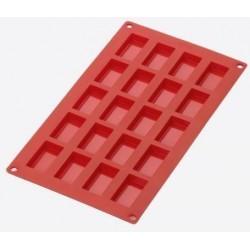 bakvorm uit silicone voor 20 financiers rood 8.5x4.3x1.2cm