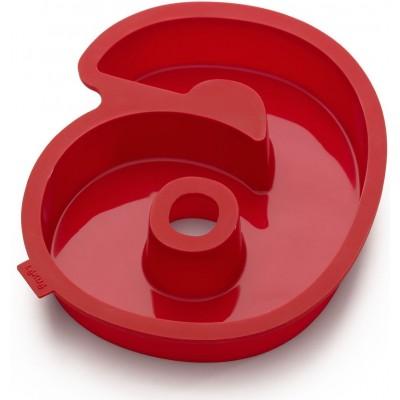 Bakvorm uit silicone rood nummer 6 31.4x26.9x4cm