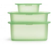 Set van 3 voorraaddozen uit silicone groen 200ml, 500ml & 1L