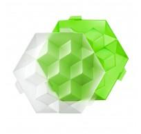 zeshoekige ijsblokjesvorm met deksel voor 7 ijsblokken groen 24.5x22x7.5cm