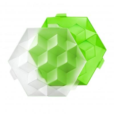 zeshoekige ijsblokjesvorm met deksel voor 7 ijsblokken groen 24.5x22x7.5cm  Lékué