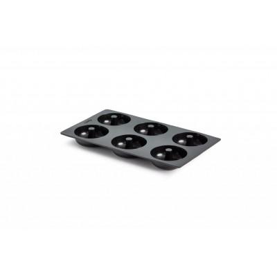 bakvorm uit silicone voor 6 donuts zwart