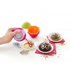 set van 6 cakevormpjes uit silicone dieren roze, groen en oranje Ø 8.9cm H 3.6cm