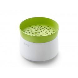 rijstkoker voor magnetron uit silicone en kunststof wit en groen Ø 13cm H 17.8cm