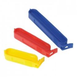 set van 10 vershoudclips uit kunststof geel, rood en blauw 6, 8 en 10 cm