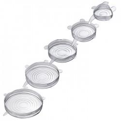 set van 5 silicone vershouddeksels transparant ø 6.5, 9.5, 14.5, 16.5 & 20.5cm  Westmark