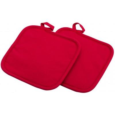 set van 2 pannenlappen uit katoen en neopreen rood 19.5x20x2cm  Westmark