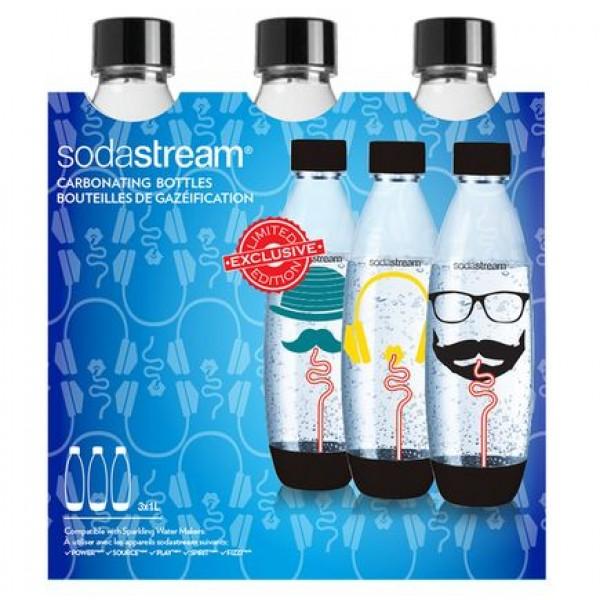 3X 1L black fuse flessen Hipster SodaStream
