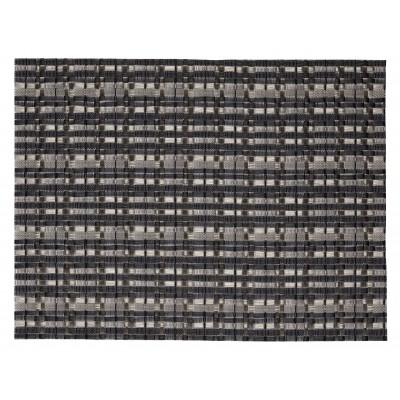Saleen Edel fijn geweven placemat uit kunststof antraciet en zilver 32x42cm