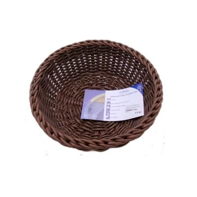 Saleen ronde gevlochten mand uit kunststof bruin Ø 23cm H 9cm