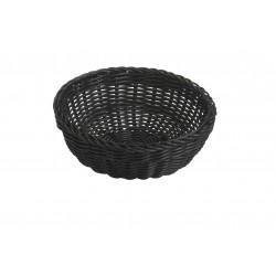 ronde gevlochten mand uit kunststof zwart  Saleen