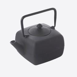 Vierkante theepot uit gietijzer met zeef zwart 1L