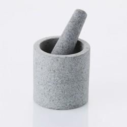 Dubbelzijdige vijzel & stamper uit half-gepolijst graniet ø 11cm