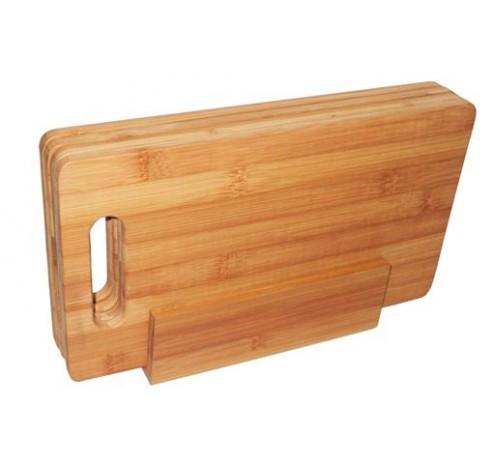 4 ontbijtplankjes uit bamboe in houder 29x16cm  Point-Virgule