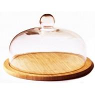 Kaasplank uit bamboe met glazen stolp ø 30cm
