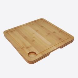 Vaatwasserbestendige snijplank uit bamboe met sapgeul 35x35x2.5cm