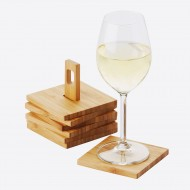 Glasonderzetters uit bamboe 6 stuks op houder