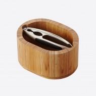 Notenkrakerset uit bamboe ovaal 16x12.5x8.5cm