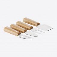 Set van 4 kaasmessen uit bamboe