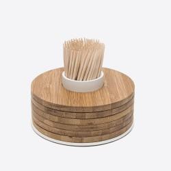 Glasonderzetters uit bamboe by Tore Bleuzé 6 stuks op tandenstokerhouder wit
