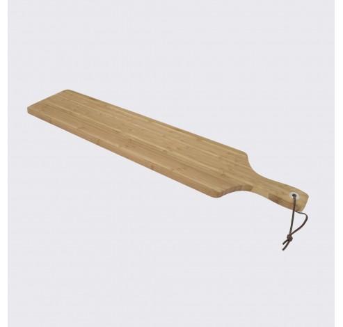 Serveerplank uit bamboe, metalen ring & lederen koord 75x14cm  Point-Virgule