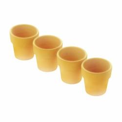 Set van 4 eierdopjes uit bamboevezel geel