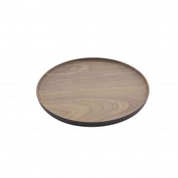 rond dienblad houtlook bruin en zwart Ø 20.1cm
