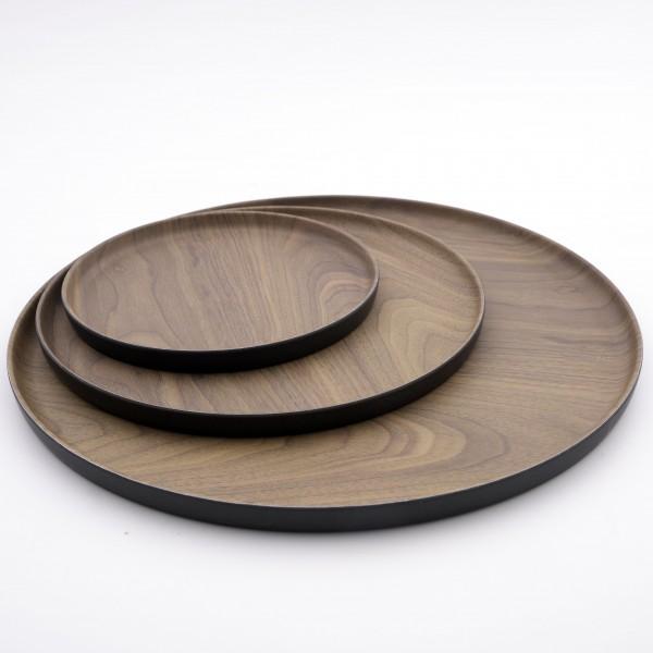 Point-Virgule Point-Virgule rond dienblad houtlook uit bamboevezel bruin en zwart ø 20.1cm H 1.6cm