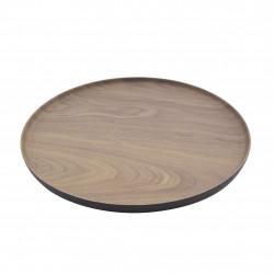 rond dienblad houtlook bruin en zwart Ø 27.9cm
