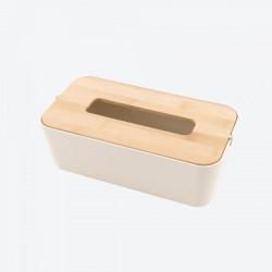 Zakdoekendoos uit bamboevezel gebroken wit