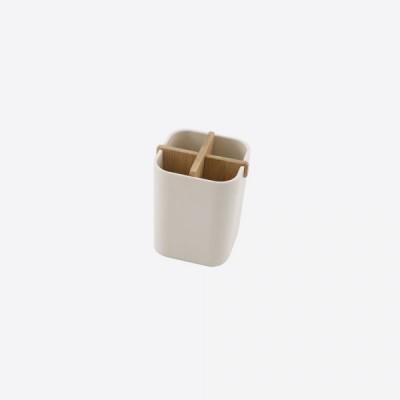 Universele houder met 4 comp. uit bamboevezel gebroken wit 8x8x10.5cm  Point-Virgule