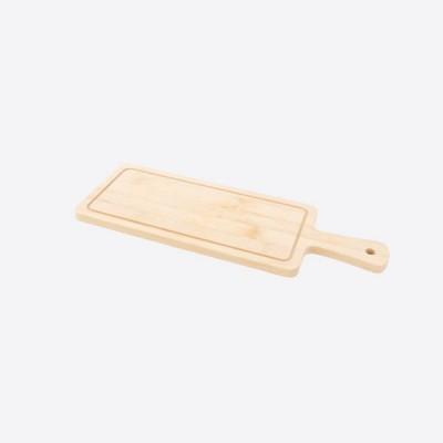 Snijplank uit bamboe met sapgeul en handvat 33x12x1cm