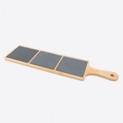serveerplank uit bamboe en leisteen met handvat 44x12x1cm