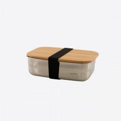 lunchbox uit rvs met deksel uit bamboe 650ml  Point-Virgule