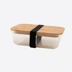 lunchbox uit glas met deksel uit bamboe 1.1L  Point-Virgule
