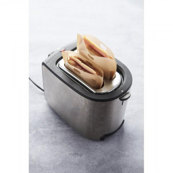 set van 2 herbruikbare grill en toast bags uit glasvezel 16x16.6cm