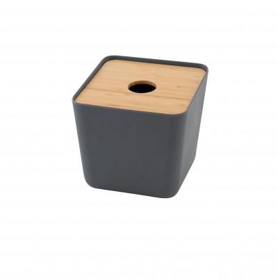 Zakdoekendoos bamboev., bamb. deksel donkergr. by MF 15x15.3x15.5cm  Point-Virgule