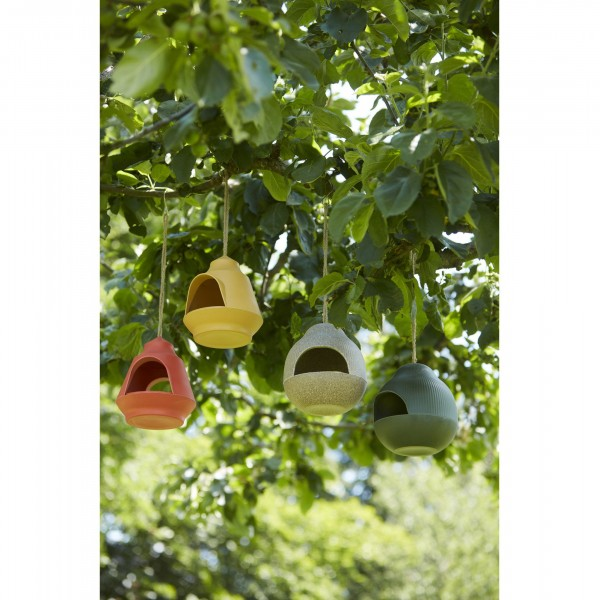 voederhuisje voor vogels uit bamboevezel okergeel 17.7x17.9x15.5cm