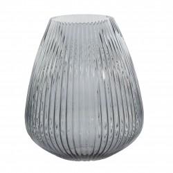 kaarshouder/vaas uit glas blauw Ø 24.5cm H 28cm  Point-Virgule